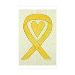 Yellow Awareness Ribbon Heart Stickers - 50 Pack