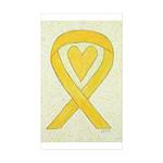 Yellow Awareness Ribbon Heart Stickers - 10 Pack