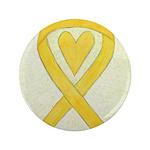 Yellow Awareness Ribbon Heart 3.5