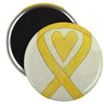 Yellow Awareness Ribbon Heart Magnets