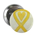 Yellow Awareness Ribbon Heart 2.25