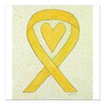 Yellow Awareness Ribbon Heart Square Car Magnet 3
