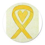 Yellow Awareness Ribbon Heart Round Car Magnet