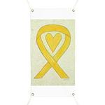 Yellow Awareness Ribbon Heart Banner