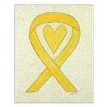 Yellow Awareness Ribbon Heart Posters