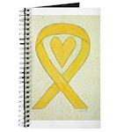 Yellow Awareness Ribbon Heart Journal