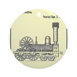 Train Locomotive Patent Paper Print 1842 Round Orn