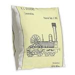 Train Locomotive Patent Paper Print 1842 Burlap Th