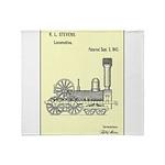 Train Locomotive Patent Paper Print 1842 Throw Bla