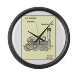 Train Locomotive Patent Paper Large Wall Clock