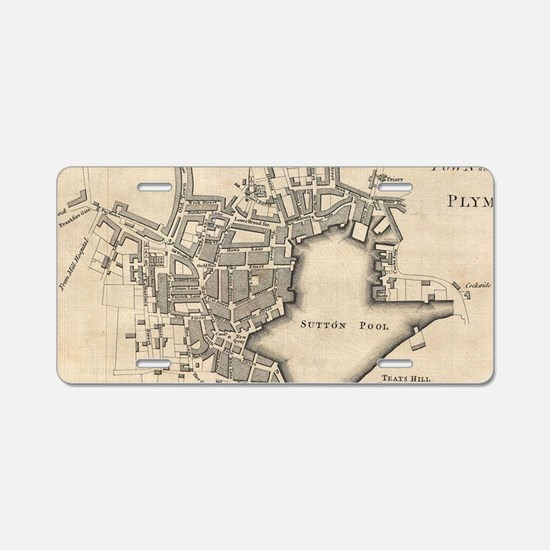 Vintage Map of Plymouth Eng Aluminum License Plate