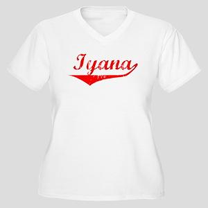 Iyana Vintage (Red) Women's Plus Size V-Neck T-Shi
