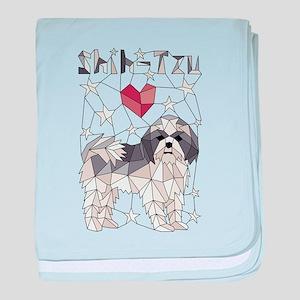 Geometric Shih-Tzu baby blanket
