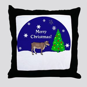 Jersey Cow Merry Christmas Throw Pillow