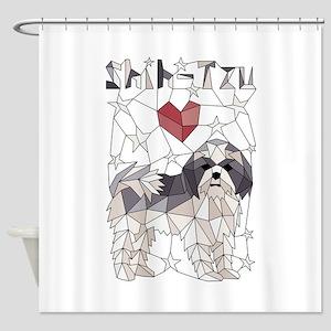 Geometric Shih-Tzu Shower Curtain