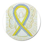 Gray and Yellow Awareness Ribbon Round Car Magnet