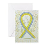 Gray and Yellow Awareness Ribbon Greeting Cards