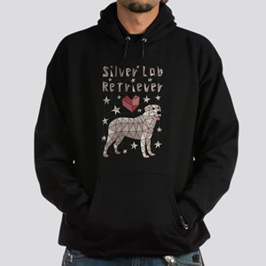 Geometric Silver Lab Retriever Hoodie (dark)