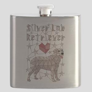 Geometric Silver Lab Retriever Flask