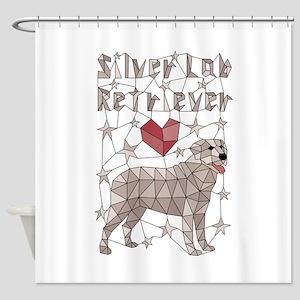 Geometric Silver Lab Retriever Shower Curtain