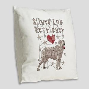 Geometric Silver Lab Retriever Burlap Throw Pillow