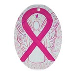 Hot Pink Awareness Ribbon Oval Ornament
