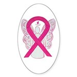 Hot Pink Awareness Ribbon Angel Oval Sticker