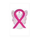 Hot Pink Awareness Ribbon Angel Stickers -10 Pack
