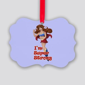 Woman Super Hero Shows Muscled Ar Picture Ornament