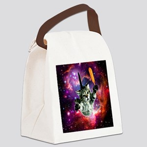 Space Cat with Magical Corn Dog Canvas Lunch Bag