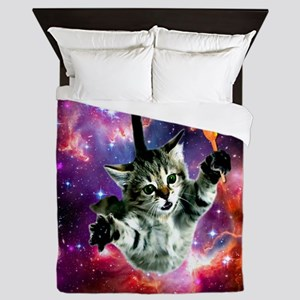 Space Cat with Magical Corn Dog Queen Duvet