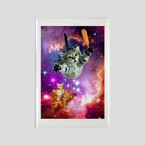 Space Cat with Magical Corn Dog Rectangle Magnet