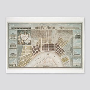 Vintage Map of New Orleans Louisian 5'x7'Area Rug