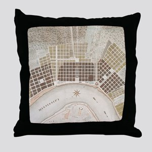 Vintage Map of New Orleans Louisiana Throw Pillow