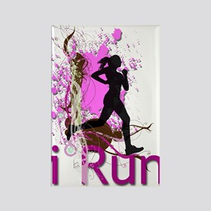 iRun Pink & Red Rectangle Magnet