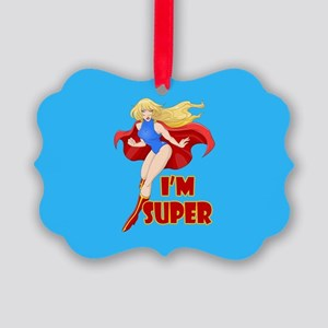 Woman Super Hero Flying With Cape Picture Ornament