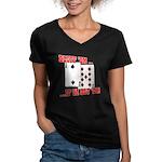 Bluff Texas Hold 'em Women's V-Neck Dark T-Shirt