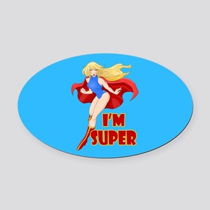 Woman Super Hero Flying With Cape Oval Car Magnet
