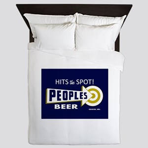 Peoples Beer Rectangle label Queen Duvet