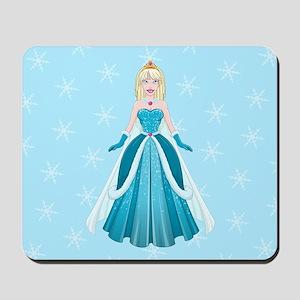 Snow Princess In Blue Dress Front Mousepad