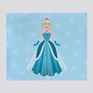 Snow Princess In Blue Dress Front Throw Blanket