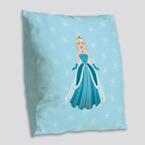 Snow Princess In Blue Dress Fr Burlap Throw Pillow