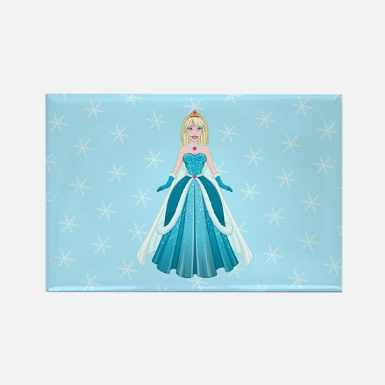 Snow Princess In Blue Dress Front Magnets