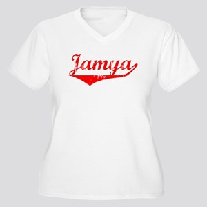 Jamya Vintage (Red) Women's Plus Size V-Neck T-Shi