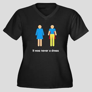 Women's V-Neck Dark Plus Size T-Shirt