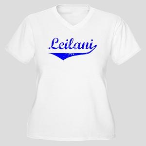 Leilani Vintage (Blue) Women's Plus Size V-Neck T-
