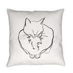 contented cat .11x11 Everyday Pillow