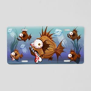 Psycho Fish Piranha Aluminum License Plate