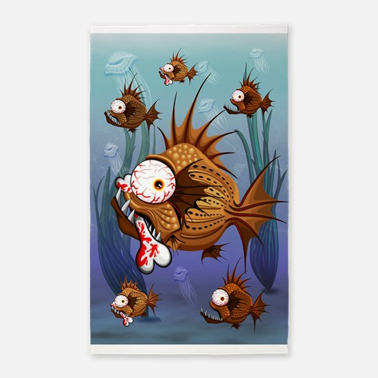 Psycho Fish Piranha Area Rug