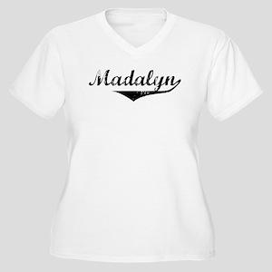 Madalyn Vintage (Black) Women's Plus Size V-Neck T